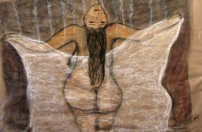 Snowy Sensuality Soft Pastels and Chalk on Paper 95cmx140cm